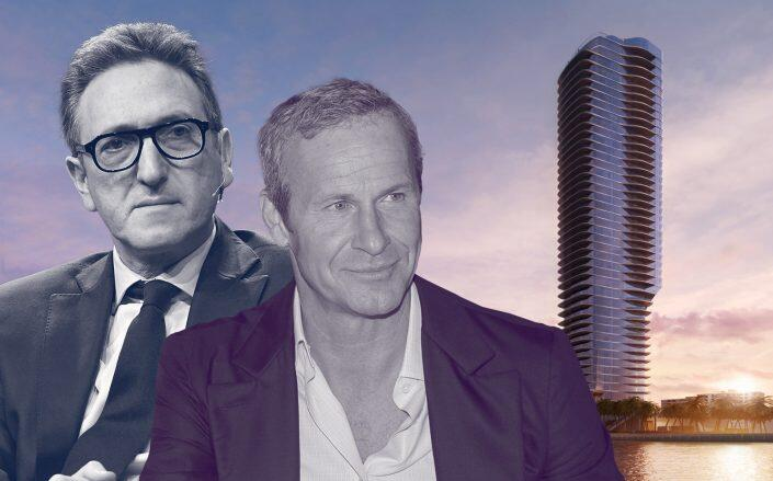 Cain International's Jonathan Goldstein, OKO Group's Vlad Doronin and the Brickell condo renderings. (Getty, OKO Group & Cain International)