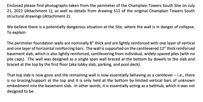 A portion of the letter Structural Engineer Allyn E. Kilsheimer sent to Surfside Mayor Charles W. Burkett and Elected Officials