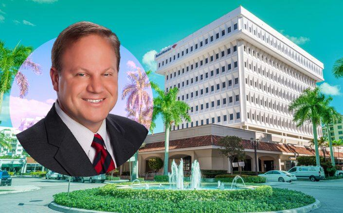 Grover Corlew principal Mark Corlew with Bank of America Tower in Boca Raton (Grover Corlew)
